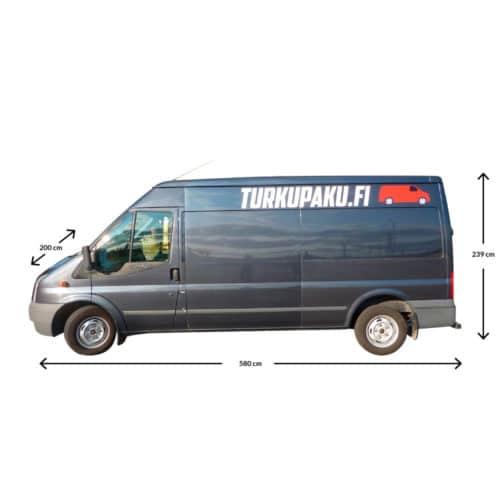 Pakettiauton Vuokraus Turku Ford Transit Isompi Musta Sivusta