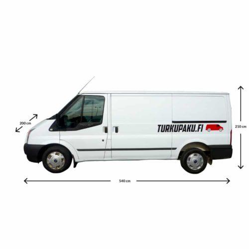 Pakettiauton Vuokraus Turku Ford Transit valkoinen ulkomitat